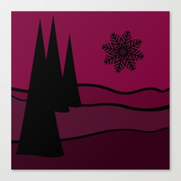 Mulled Berry Wine Snow Flake and Trees Canvas Print
