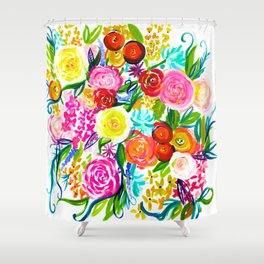 Bright Colorful Floral Painting Shower Curtain