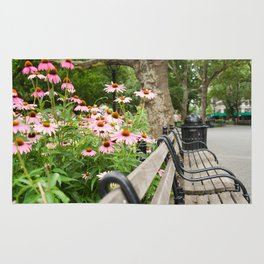 City Bench Flowers Rug