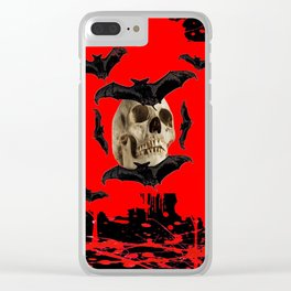 BAT INFESTED HAUNTED SKULL ON BLEEDING RED ON RED  ART Clear iPhone Case
