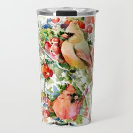 Cardinal Birds and Hawthorn Travel Mug