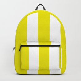 Titanium yellow - solid color - white vertical lines pattern Backpack
