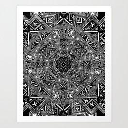 mandala mystery bw Art Print