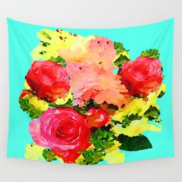 Watercolor Floral Painting with Turquoise Mint Blue Background Wall Tapestry
