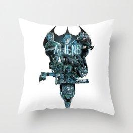 Aliens Illustration Tribute Throw Pillow