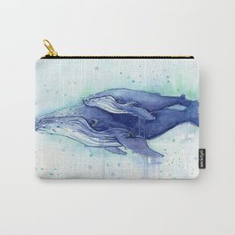 Humpback Whale Watercolor Mom and Baby Painting Whales Sea Creatures Carry-All Pouch