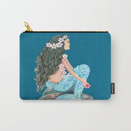 Mermaid on a rock with flowers and shells Carry-All Pouch