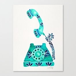 Vintage Rotary Phone – Turquoise Palette Canvas Print