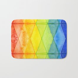 Geometric Abstract Rainbow Watercolor Pattern Bath Mat