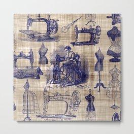 Vintage Sewing Toile Metal Print