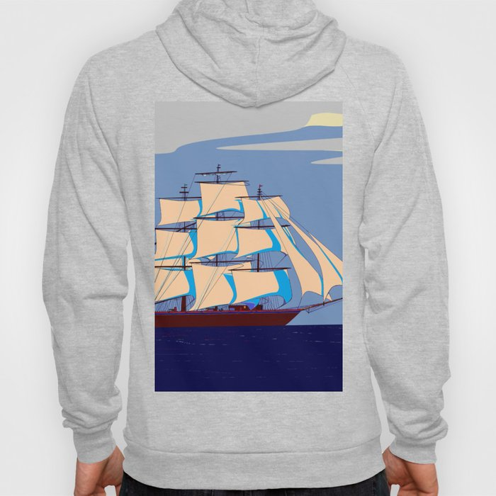 A Clipper Ship with Gray Skies, Sunset Hoody