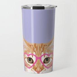 Mackenzie - Orange Tabby Cute Hipster Glasses Kitten Lavender Pastel Girly Retro Cat Art cell phone Travel Mug