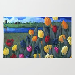 Dutch Tulips, Bright Colorful Flower Painting Rug