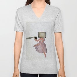 woman exchanging her head with a TV Unisex V-Neck