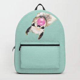 Bubble Gum Sneaky Llama in Green Backpack