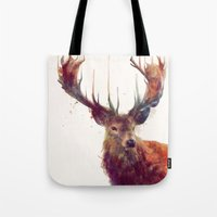 ariana grande Tote Bags featuring Red Deer // Stag by Amy Hamilton