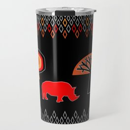 African Rhino (Hot colors) Travel Mug