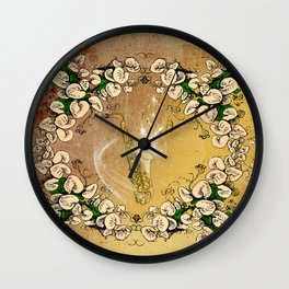 Saxophone with flowers Wall Clock