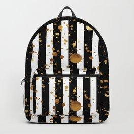 Stripes & Gold Splatter Backpack