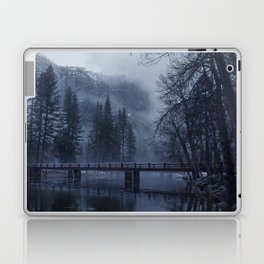 Swinging Bridge over Merced River in Yosemite National Park in the blue of the Early morning Laptop & iPad Skin