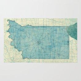 Indiana State Map Blue Vintage Rug