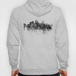 Minneapolis skyline in black watercolor on white background Hoody