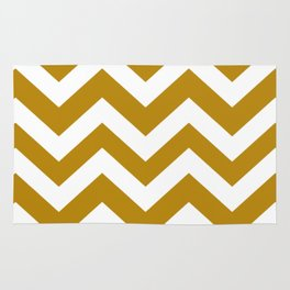 Dark goldenrod - green color - Zigzag Chevron Pattern Rug