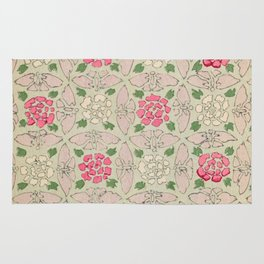 Vintage Pink and Sea Green Floral Pattern Rug