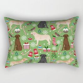 Labrador retrievers christmas festive holiday gifts for dog lover in your life dog breeds custom art Rectangular Pillow
