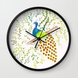 Perched Peacock Wall Clock