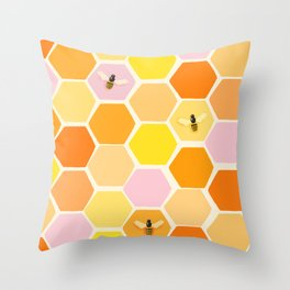 Busy As A Bee In A Hive Throw Pillow
