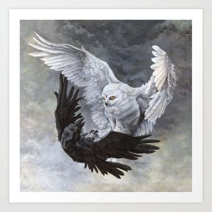 yin yang owl and raven art print by wailingwizard society6