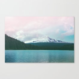 Mountain Lake - Nature Photography - Turquoise Teal Pink Canvas Print