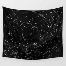 Constellation Map - Black Wall Tapestry