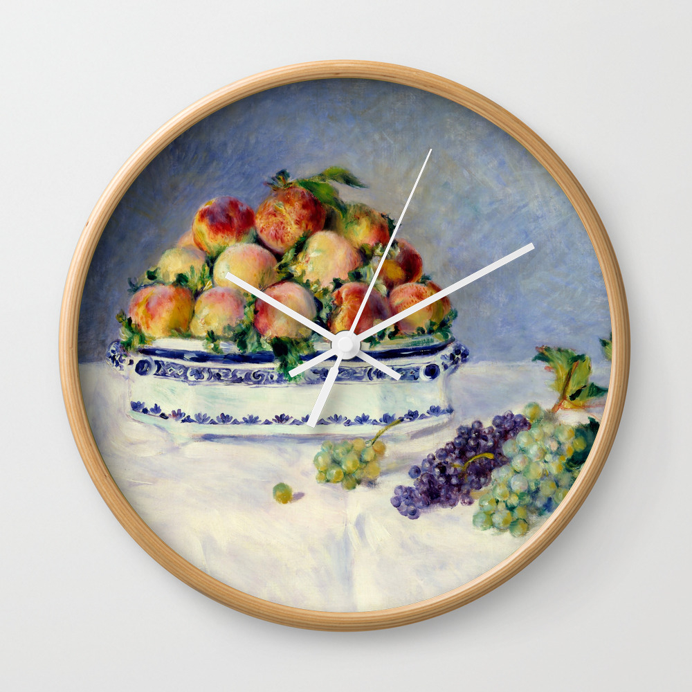 "Auguste Renoir """"still Life With Peaches And Grapes… Wall Clock by Alexandra_arts"" CLK9097175"