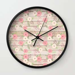 Pink and Cream Roses Pattern Wall Clock