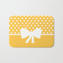 Dots dip-dye pattern with cute bow in yellow Bath Mat