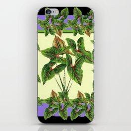 Green Tropical Botanical Foliage  Lilac-Black Art iPhone Skin