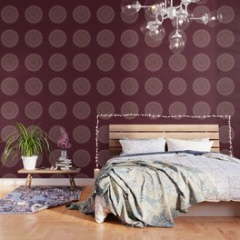 Rose Gold Marble Mandala Burgundy Textured Wallpaper