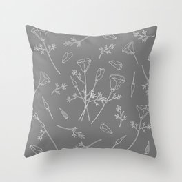 California Poppies | In Grey Throw Pillow