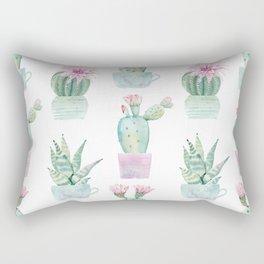 Simply Echeveria Cactus in Pastel Cactus Green and Pink Rectangular Pillow