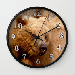 Brown Bear Grizzly Wall Clock