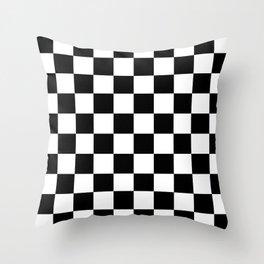 Checkered Pattern: Black & White Throw Pillow