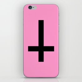 Inverted Cross on Pink iPhone Skin
