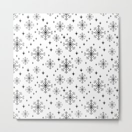 Snowflakes winter christmas minimal holiday black and white decor gifts Metal Print