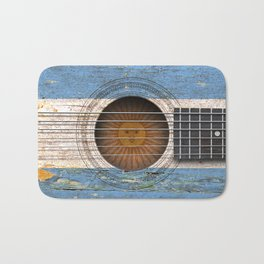 Old Vintage Acoustic Guitar with Argentine Flag Bath Mat