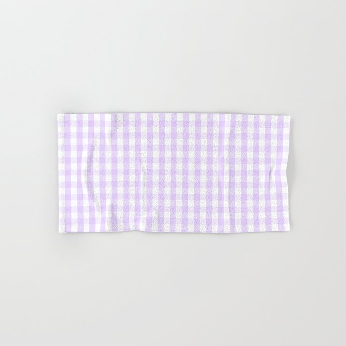 Chalky Pale Lilac Pastel and White Gingham Check Plaid Hand & Bath Towel
