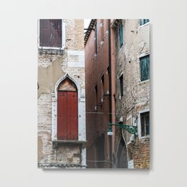 Red door in venice Metal Print