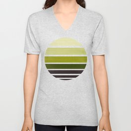 Olive Green Mid Century Modern Minimalist Circle Round Photo Staggered Sunset Geometric Stripe Desig Unisex V-Neck