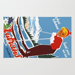 Vintage Autrans France Ski Travel Rug